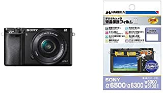 SONY ミラーレス一眼 α6000 パワーズームレンズキット E PZ 16-50mm F3.5-5.6 OSS ブラック ILCE-6000L B + HAKUBA 液晶保護フィルム
