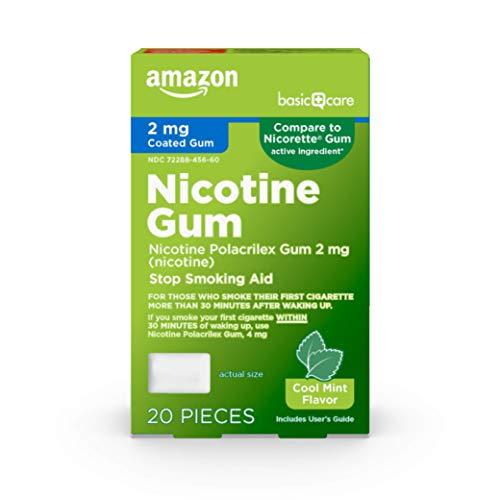 Basic Care Coated Nicotine Polacrilex Gum, 2 mg (nicotine), Mint Flavor, Stop Smoking Aid, 20 Count