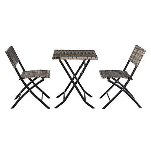Yi-xir klassisches Design Faltenrattan-Stuhl Drei-teiliges Foursquare-Tisch-grau Perfekt und komfortabel