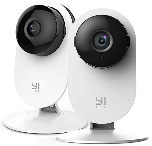 YI 2pc Security Home Camera Baby Monitor, 1080p WiFi Smart Indoor Nanny IP Cam with Night Vision, 2-Way Audio, Motion Detection in Phone App, Pet Cat Dog Cam, Work with Alexa and Google