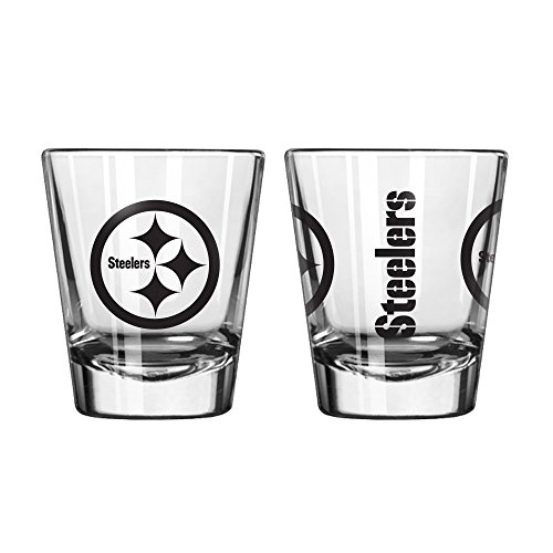 Official Fan Shop Authentic NFL Logo 2 oz Shot Glasses 2-Pack Bundle. Show Team Pride at Home, Your Bar or at The Tailgate. Gameday Shot Glasses for a Goodnight (Pittsburgh Steelers)