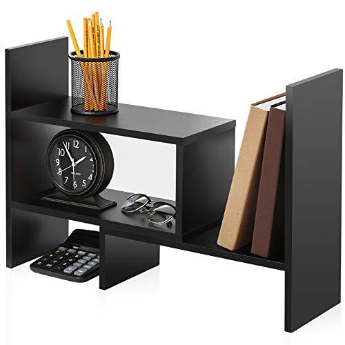 FITUEYES Desktop Bookshelf Adjustable Countertop Bookcase Office Supplies Wood Desk Organizer Accessories Display Rack Black