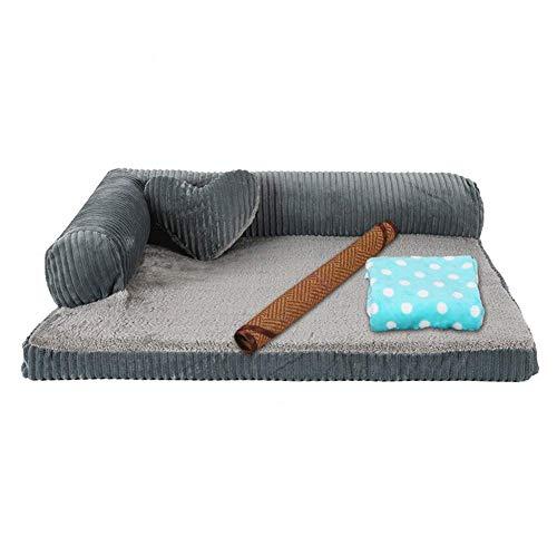 Orthopädisches Hundebett, abnehmbares waschbares Sofa im Loungesofa, Schwamm mittlerer Festigkeit, wasserdichte, rutschfeste Unterlage für das Wohnzimmer zu Hause (Farbe: JUJUBERED, Größe: XL)