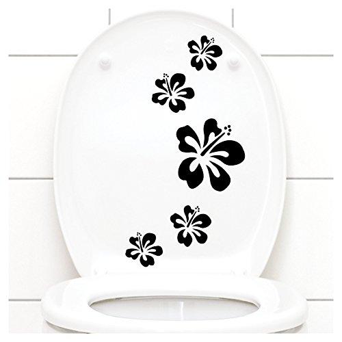 Grandora Klodeckel Aufkleber Hibiskusblüten I schwarz 5er Kreativset I Bad Blüten Blumen Hibiskus Aufkleber Wandaufkleber Wandsticker W916