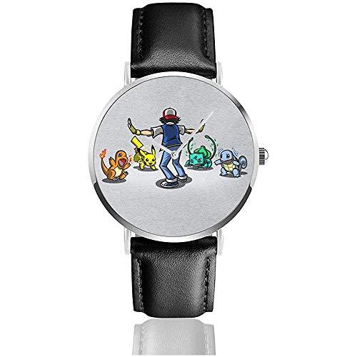 Ich muss sie alle Monster der Taschenwelt trainieren Uhren Quarzlederuhr mit schwarzem Lederband für Sammlungsgeschenk