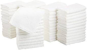 Amazon Basics - Toallitas de felpa, secado rápido y extra absorbentes, color blanco, 60 piezas