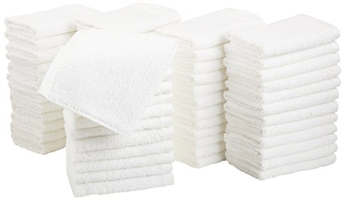 AmazonBasics Cotton Washcloths - Pack of 60, White