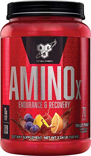 BSN Amino X Muscle Recovery & Endurance Powder with BCAAs, 10 Grams of Amino Acids, Keto Friendly, Caffeine Free, Flavor: Fruit Punch, 70 servings (Packaging may vary)
