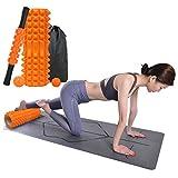 [LAMA]ヨガポール フォームローラー ストレッチ 筋膜リリース スティック 全5色 4点セット ローラー ショート ハーフ エクササイズ トレーニング 収納袋付き (オレンジ, 4in1)