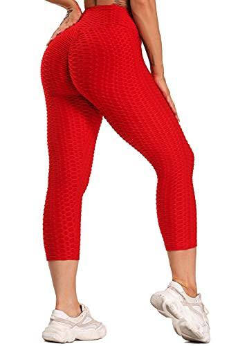 FITTOO Mallas 3/4 Leggings Capris Mujer Pantalones Yoga Alta Cintura Elásticos Super Suave #1 Rojo S
