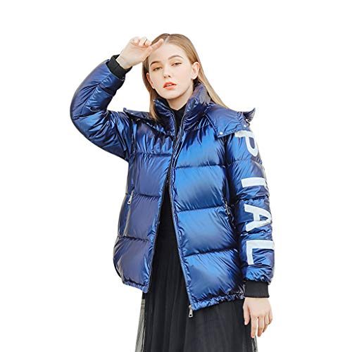 UFODB Damen Daunenjacken Kurz Winter Windbreaker mit Zipper Softshelljacke Outdoor Warm Bomberjacke Cabanjacke Damenjacke Steppjacke Weichem...