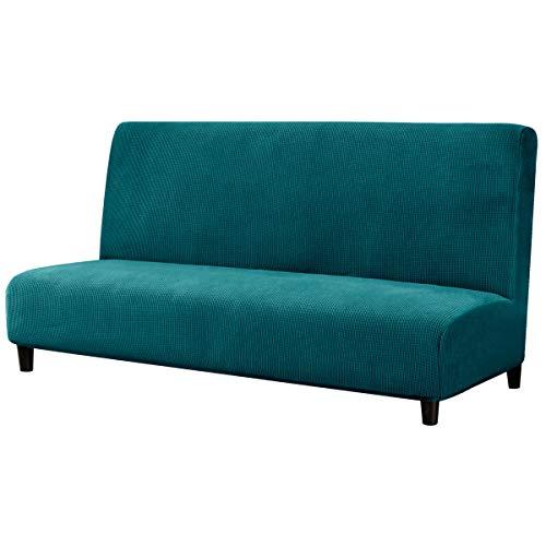 subrtex Sofabezug ohne Armlehnen Stretch Abdeckung Husse für Sofabett Sofaüberzug Armless rutschfest (Ohne Armlehnen,Blau-1)