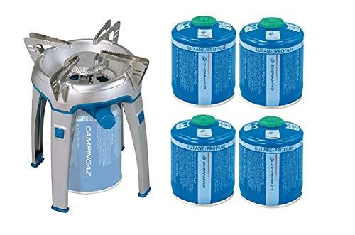 ALTIGASI Bivouac Réchaud à gaz Campingaz, puissance 2600 W, avec sac de transport, système cartouche amovible + 4 cartouches à gaz CV470 de 450 g