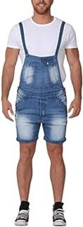 Salopette Corta in Denim da Uomo Cinturino Regolabile Tuta di Jeans Strappata con Foro Corto Intera