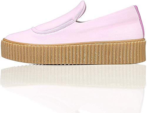 find. Plateau Schuhe Damen Slipper mit gerippter Sohle und dekorativer Naht, Pink, 39 EU