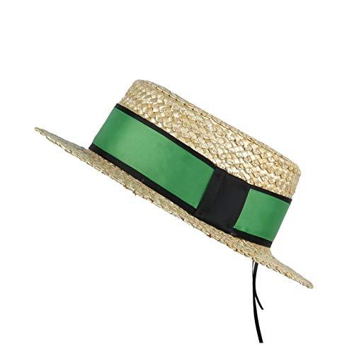 LHZUS Sombreros para mujer, sombrero de trigo con pajita de trigo para playa, con pastel de cerdo plano, gorra de protección solar (color: verde, tamaño: 57-58 cm)