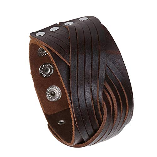 Heren Armband Leer Brede Armband Punk Geweven Armband Rock Lederen Armband Religieuze Gotische Verstelbare Armband Mannen, Jongens, Kinderen, Fietsen, Dames Geschenken Vaderdag, Respect voor de Ouderen