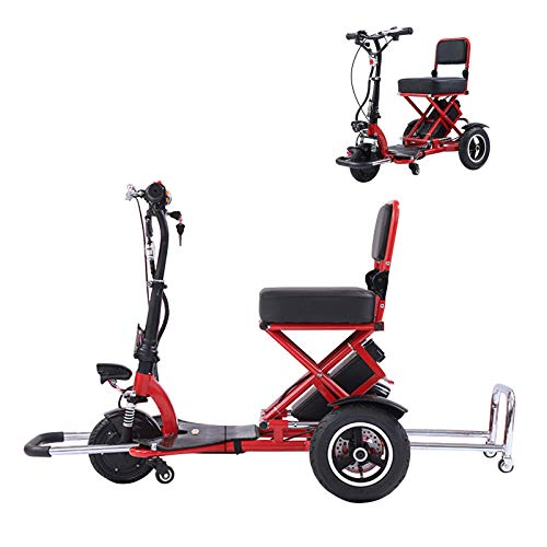 N/Z Life Equipment Compact Travel Power Scooter 3 Wheel Electric Powered Mobility Scooter Mobile Wheelchair Device for Adults and Seniors 3 Second Instant Folding Design