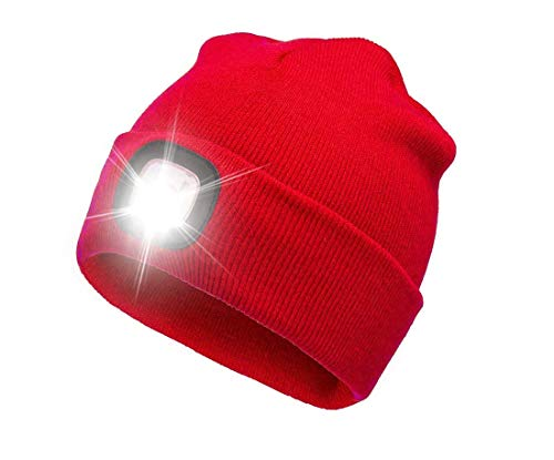 ATNKE Gorra de Goma con luz LED, USB Recargable Running Hat - Lámpara de luz Impermeable a Prueba de Agua con 4 LED Ultra Brillante y Faro de Alarma Intermitente Multicolor/Rojo