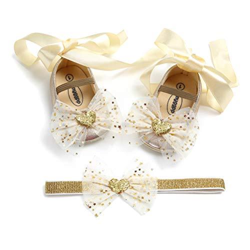 EDOTON Baby Mädchen Schuhe Haarband Set Bowknot Kleinkind Anti-Rutsch-Weiche Lauflernschuhe Besondere Anlässe Taufe Hochzeit Party Schuhe Sneaker (0-6 Monate, Gold)