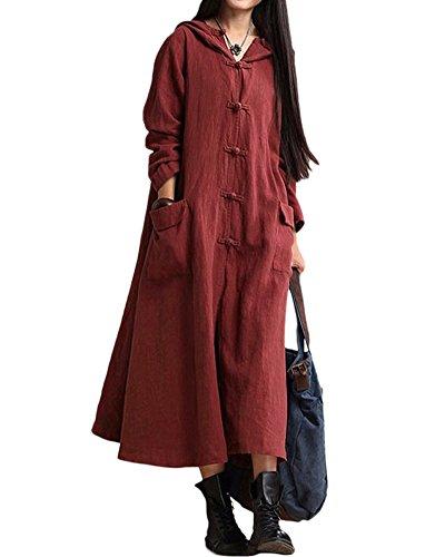Romacci Damen Weinlese Kleid mit Kapuze Langes Hülsen-beiläufiges Loses Festes Baumwollkleid, Burgund, 5XL
