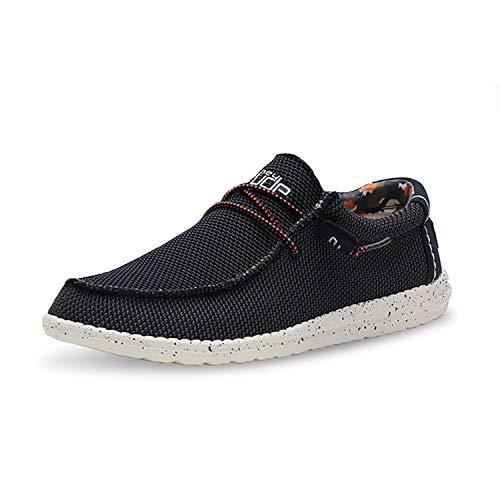 Hey Dude Wally Sox Schuhe Herren - Blue Multi - Komfort und Leichtigkeit - Ergonomische Memory Foam Sohle - Hausschuhe Herren - Herren Schuhe Designt in Italien und Kalifornien Größe EU 45