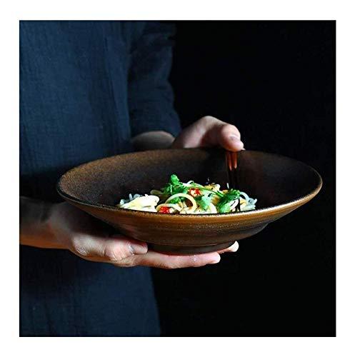 Cuenco de cerámica grande de sopa de ramen, ensalada de frutas tazón de pasta de fideos, plato profundo, vajilla de cerámica retro de 23,4 cm