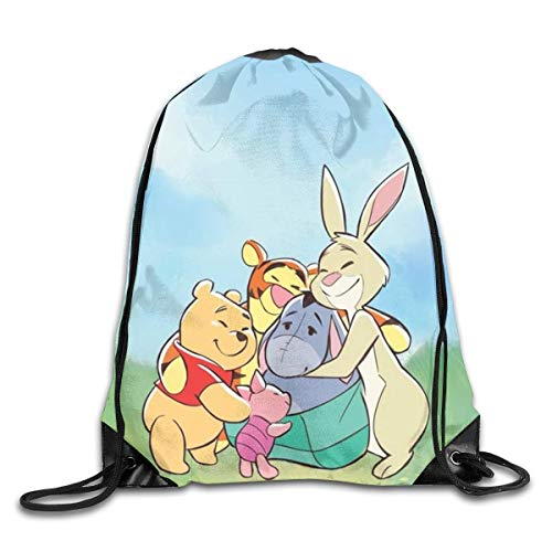LREFON Winnie The Pooh Kiss Drawstring Bag Gym Backpack Man Women Sport Storage Shoulder Bag