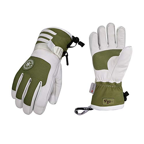 Vgo -4℉ or Above 3M Thinsulate G150 Lined Winter Ladies' Goatskin Leather Skiing Gloves Waterproof Membrane (Size M, Green, SF-GA2446FW)