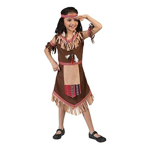 Kostümplanet® Indianer-Kostüm Kinder Mädchen Indianerin Kleid Faschingskostüm Squaw Kinderkostüm Karneval Größe 128