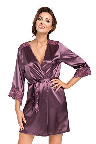 r-dessous sexy Damen Kimono Satin + Spitze kurz Langarm Morgenmantel Hausmantel Nachtwäsche Bademantel Groesse: L