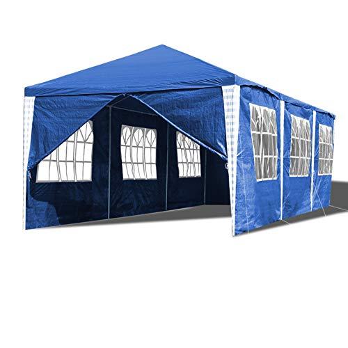 Hengda 3x9m Carpas Pabellón de jardín Impermeable, Estable Carpa para Fiestas protección UV con 8 Paneles Laterales para reuniones Familiares en Fiestas en el jardín