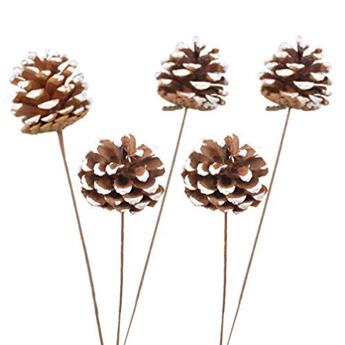 Amosfun 5 pcs Pommes de pin Naturelles Pick noël Bouquet de Fleurs séchées Paquets pour Bricolage fête de Mariage Maison Vase décor