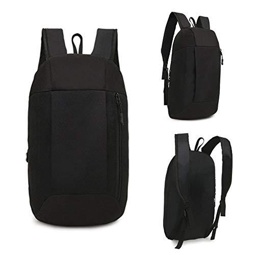 Sillor Rucksack Unisex Einfarbig Oxford-Stoff Handtaschen Daypacks Kleine Schulrucksack Umhängetasche für Outdoor Hiking Reise Paket Reiten (20x40x12cm(Width x Height xThickness), Schwarz)