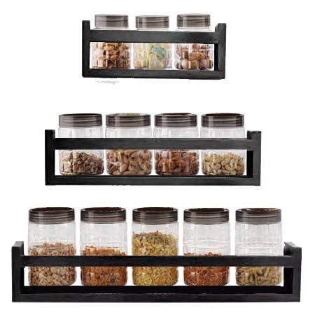SLK Wood Products Cocinar Series Wooden Wall Shelf - Set of 3 - Charcoal Black