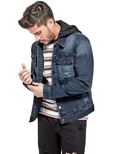 GUESS Factory Men's Vertix Hooded Super Stretch Denim Jacket