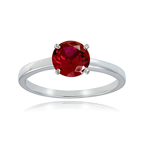 Sterling Silver Created Ruby 8mm Round Solitaire Bridal Engagement Ring, Size 6