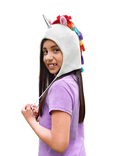 Unicorn Party Supplies Hat, Fleece with Rainbow Colored Mane, Silver Horn, Pink Ears