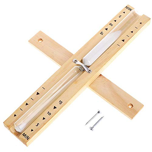 AODOOR Reloj de arena para sauna de 15 minutos, montaje en pared, reloj de arena de madera, reloj de pared para sauna con reloj de arena giratorio y arena blanca