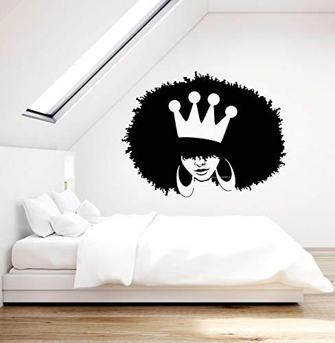 ASFGA Único Moderno Negro niña Cara Africana Pegatinas de Pared Cabeza Popular Pelo Esponjoso peluquería Peinado Vinilo calcomanía Mujer Reina Corona Grandes Pendientes 56x42cm