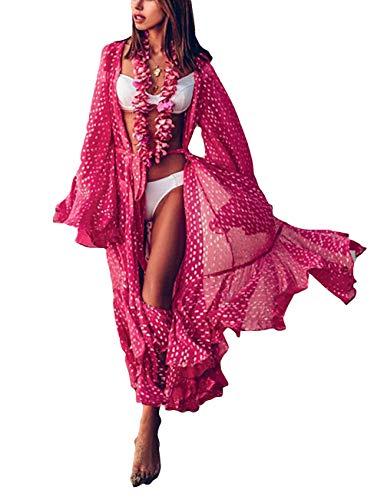 Bsubseach Women Rose Dot Print Chiffon Swimsuit Cover Up Bell Sleeve Swimwear Long Kimono Cardigan