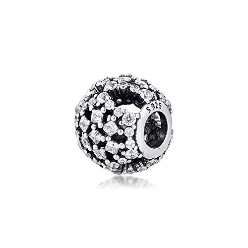 LILANG Pulsera de joyería Pandora 925, ajustes Naturales para Cuentas de Nieve con abalorio de Plata esterlina Transparente para Mujer, Regalos de Bricolaje