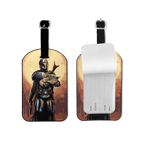Movie Star Wars Mandalorian Luggage Tags Adjustable Strap Leather Luggages Tag For Baggage Bags/Suitcases - Name ID Labels Set For Travel