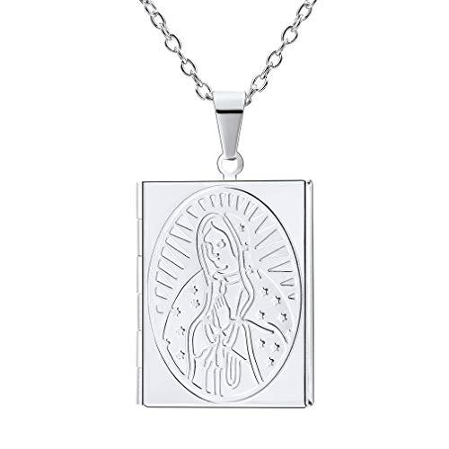 FaithHeart-Locket Medallón Rectangular Collar Colgante de Acero Inoxidable Colgante Abrible con Diseño de la Virgen María Cristiana Bijoux Puerta Fotos con Cadena Ajustable 20/50 cm Chapado en platino