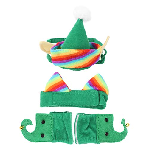 POPETPOP 4Pcs Cat Elf Costume - Cute Cat Christmas Costume Xmas Clothes Green Elf Outfit for Small Pets Cat Costume Accessories