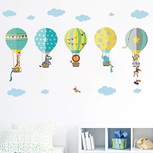 decalmile Globos Aerostáticos de Animales Pegatinas de Pared Adhesivo Decorativos para Habitación Infantiles Guardería Niños Bebés Dormitorios