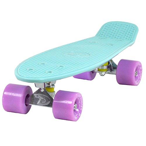 Land Surfer® Retro Cruiser, komplettes Skateboard mit 56-cm-Deck - ABEC-7-Kugellager - Farbige oder durchsichtige PU-Räder (59 mm) + Tragetasche - Eisblau Deck/Lila