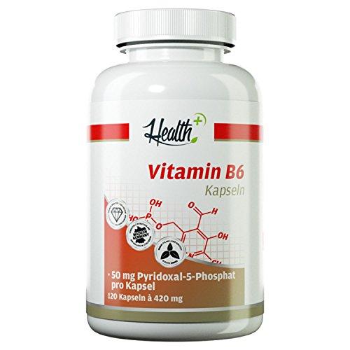 Health+ Vitamin B6 50mg - 120 Vitamin-B Kapseln, hochdosiertes & reines P-5-P, Pyridoxal-5-Phosphat, B6 Vitamin Kapseln, 70 g