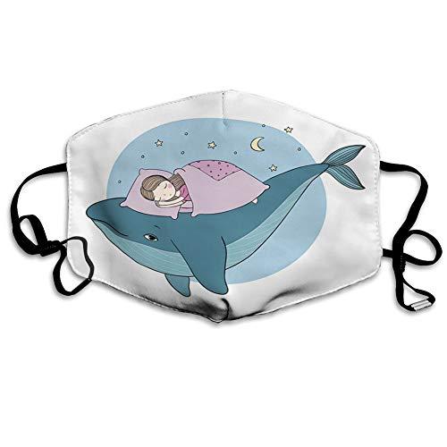 Cómoda funda para la cara, resistente al viento, estilo dibujado a mano, para dormir en una ballena, acogedora cama en el mar de la noche, decoraciones faciales impresas para unisex.