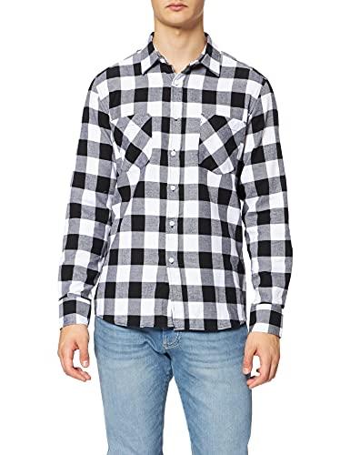 Urban Classics Checked Flanell Shirt - Camisa, color negro / blanco, talla L